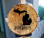 Michigan Last Name Signs For Home Personalized Whiskey Barrel Home Decor