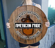 Personalized Whiskey Barrel Lid Moonshine Prohibition Bar Sign Wall Art
