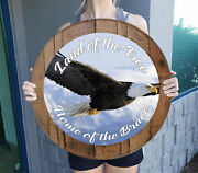 Land Of The Free Home Brave American Eagle Man Cave Whiskey Barrel Home Decor