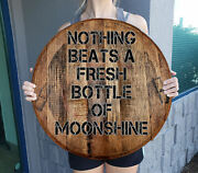 Nothing Beats A Bottle Of Moonshine Drinking Bar Sign Whiskey Barrel Wall Art