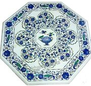 Lapis Lazuli Stone Inlay Marble Island Table Top White Coffee Table Top 30 Inch