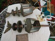 Lot Pair Of Antique Hearse Carriage Coach Candle Lamps Lights Lanterns And Mounts