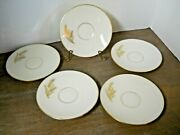 5 Saucers Gold Wheat On White Harvest Pattern Discontinued 1980 Vintage Lenox