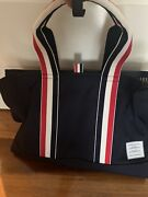 Thom Browne Classic Striped Tote Bag Canval Leather New With Tag From End