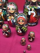 Vintage Signed Russian Nesting Dolls - 10 Piece Set - Fine Hand Painted Rare 10m