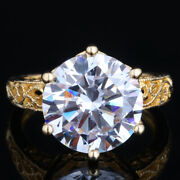 Art Deco Style Antique Ring Sterling Silver 12mm Round Fawless Cubic Zirconia