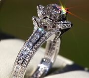 14k White Gold 2.00 Ct Real Round Solitaire Diamond Wedding Ring Size 5 6 7 8 9