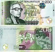 Mauritius 200 Rupees Banknote World Paper Money Unc Currency Pick P61b 2013 Bill