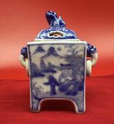 Rare Early Chinese Blue And White Censer Dragon Handle Loose Ring Foo Dog Finial