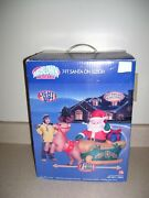 New 2007 Gemmy Christmas Airblown Inflatable 7ft Santa In Sleigh      2041