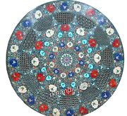 36 Inches Filigree Work Marble Dining Table Top With Gemstones Coffee Table Top