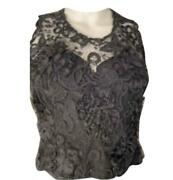 95a, 1995 Fall Lace Short Sleeve Evening Top Blouse Us 4