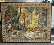 Antique Large Hand Embroidered Continental Tapestry Of A Forest Scene
