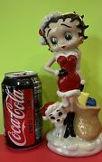 """Large Wade Porcelain 8.5"""" Betty Boop And Pudgy Christmas Time Figurine Le 500 Rare"""