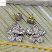 Christmas Gift Diamond Flower Earrings 14k Gold Pave Jewelry 925 Sterling Silver