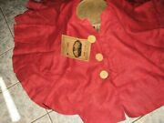 Christmas Tree Pleated Skirt Heavy Jute Burlap Fabric Country 60 Red New