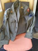 Vintage Wwii Korea Us Army Ike Wool Jacket 36r With Patches Pins