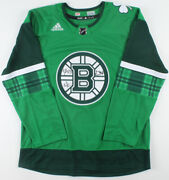 Bergeron Marchand Pastrnak Boston Bruins Triple Signed St. Patricks Day Jersey