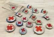 17 Red Cross Pins Lot 1919 1920 1936 Roumania 2nd War Fund Ww2 Rare Collection