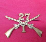 Antique 27th Infantry Regiment Hat Collar Pin Insignia Crossed Rifles Company I