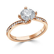 Christmas Womanand039s Ring 0.70 Ct Real Solitaire Diamond 14k Rose Gold Size 6 7