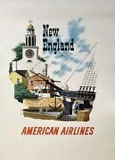 Original Vintage Poster New England American Airlines Airline Travel Tourism Ol