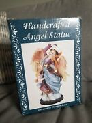 Handcdafted Angel Statue With Wooden Base In Box