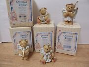 Cherished Teddies Angels With Bells Staff Trumpet And Harp Set Of 4 Ornaments 1993