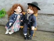 Vintage Porcelain Dolls Boy And Girl Sitting On A Bench, Collectible Dolls