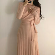 Lady Knit Dresses V-neck Long Sleeve Slim Lace-up Stretch Pleated Casual Fashion