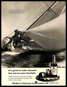 1961 Walkers Deluxe Bourbon Whiskey Vintage Print Ad Sail Boat Lake St. Clair