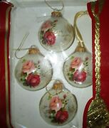 Victoria Collection Hand Decorated Glass Rose Ornaments Set Of 4 Victorian