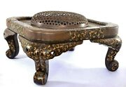 1900's Japanese Makie Lacquer Wood Copper Cover Fitting Hibachi Brazier Table