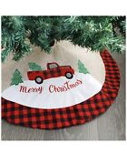 Christmas Tree Skirt Soft Burlap With Red Truck Pattern A N12