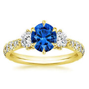 14k Solid Yellow Gold 1.34 Ct Diamond Real Certified Blue Sapphire Ring 7