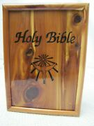 Vintage Cedar Wood Box Bible Dove Of Peace/king James Version, Stamp Union Made