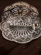 E.p Steel Napkin Holder - Made In Germany With Heavy Crystal Glass Plate Antique