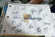 Tiger Woods Phil Mickelson Usa Champions Team Signed 2011 Presidents Cup Flag