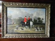 Oil /acrylic Painting On Wood Board Hunting Men And Hound Dogs Ross Stefan 29x21