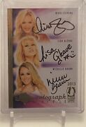 Nikki Ziering Lisa Gleave And Michelle Baena Benchwarmer Triple Autograph Card