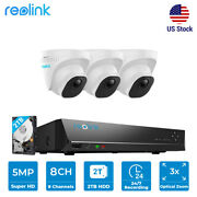 Reolink Cctv Security Home System 5mp Poe Camera 3x Optical Zoom 2tb Hdd 8ch Nvr