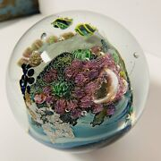 Josh Simpson Inhabited Planet Art Glass Paperweight 2001 3+ Inches Dia. Nice