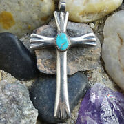 Vintage Native American Sand Cast Sterling Silver + Turquoise Cross Pendant