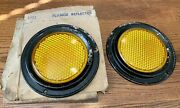 Pair Pressed Amber Glass Reflector W/flange 30andrsquos 40andrsquos Car Motorcycle Truck Bus