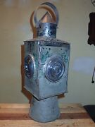 Early Antique Tin Witch Hat Railroad Lantern Colorless Bullseye Lenses Oil Lamp