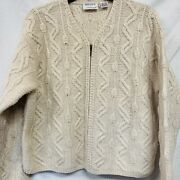 Preview International Wool Cabled Cardigan Zip Up Cream A7 Large Nice