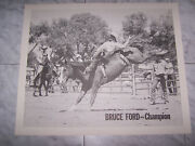 Vintage 70's Bruce Ford Champion Rodeo Photo Print Poster 21x17.5
