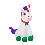 Gemmy Inflatable 3.5 Ft Tall Christmas Unicorn Indoor/outdoor Holiday Decoration