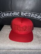 Rare Brand New Style Authentic Chrome Hearts Hat Red Cap Leather Fitted Snap