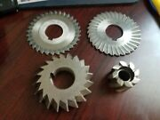Lot Of 4 Cutter 2 Side Chip Slitting Saws 1 Shell Mill And One 45 Degreeandnbsp